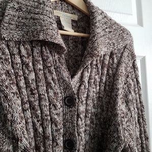 Thick Long Button Up Sweater With Belt